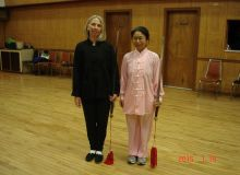 LEUNG's Yang Tai Chi Swword students - from right - Cheryl, Sherry""